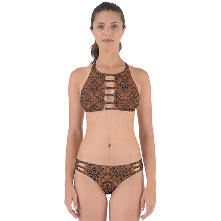DAMASK1 BLACK MARBLE & RUSTED METAL Perfectly Cut Out Bikini Set