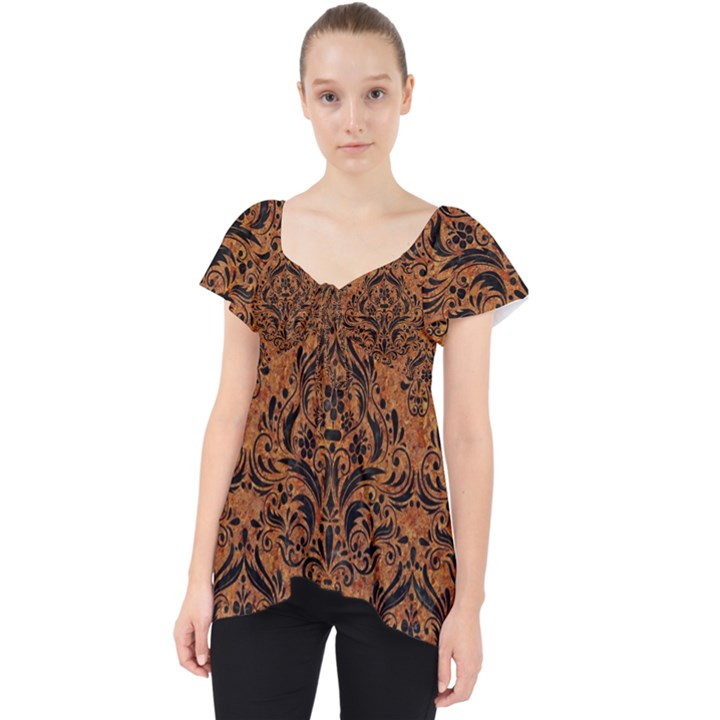 DAMASK1 BLACK MARBLE & RUSTED METAL Lace Front Dolly Top