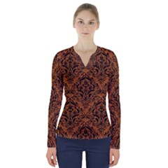 Damask1 Black Marble & Rusted Metal V Neck Long Sleeve Top