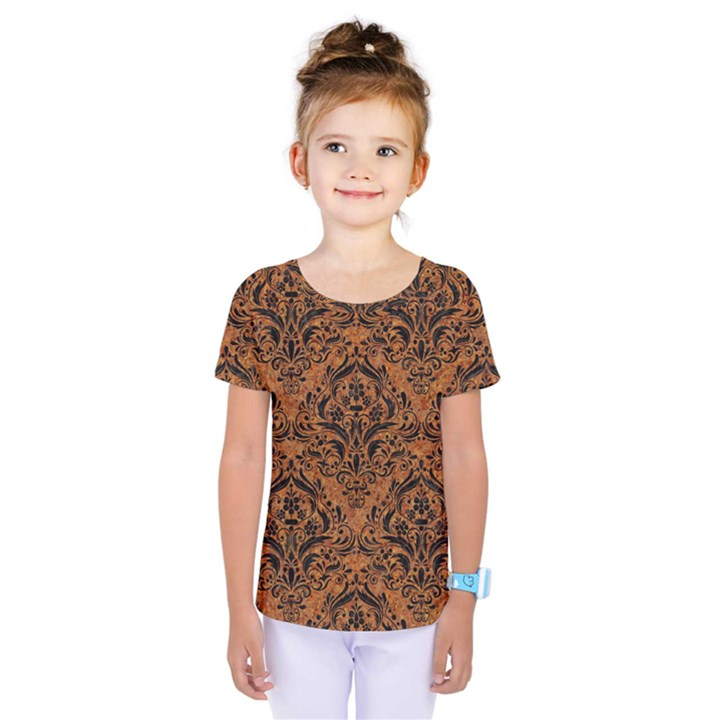 DAMASK1 BLACK MARBLE & RUSTED METAL Kids  One Piece Tee