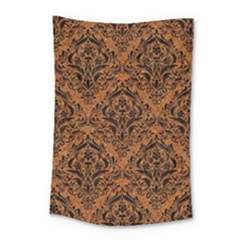 Damask1 Black Marble & Rusted Metal Small Tapestry