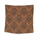 DAMASK1 BLACK MARBLE & RUSTED METAL Square Tapestry (Small) View1