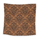 DAMASK1 BLACK MARBLE & RUSTED METAL Square Tapestry (Large) View1