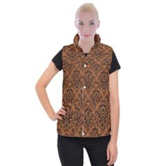 Damask1 Black Marble & Rusted Metal Women s Button Up Puffer Vest