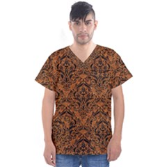 Damask1 Black Marble & Rusted Metal Men s V Neck Scrub Top