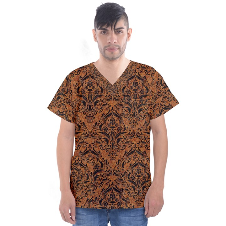 DAMASK1 BLACK MARBLE & RUSTED METAL Men s V-Neck Scrub Top