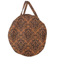 Damask1 Black Marble & Rusted Metal Giant Round Zipper Tote