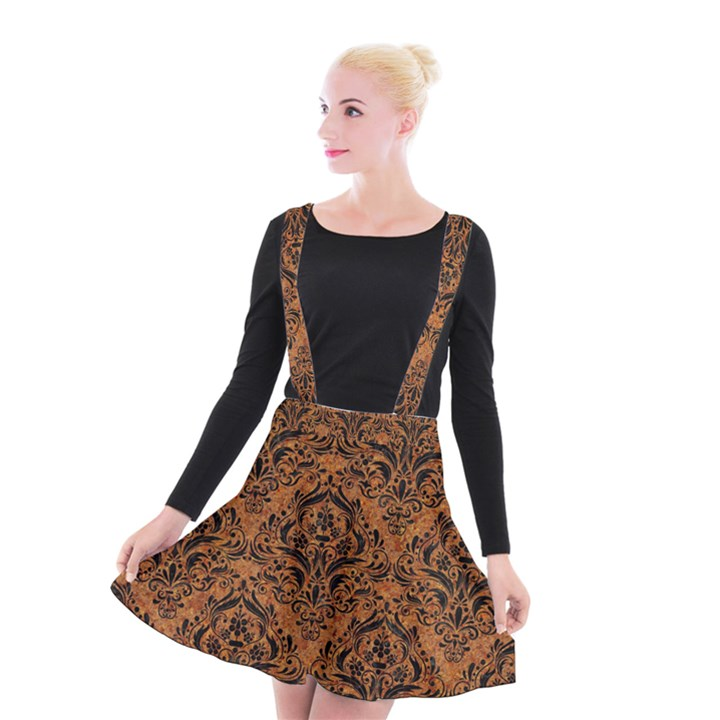DAMASK1 BLACK MARBLE & RUSTED METAL Suspender Skater Skirt