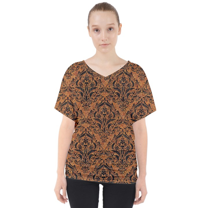 DAMASK1 BLACK MARBLE & RUSTED METAL V-Neck Dolman Drape Top