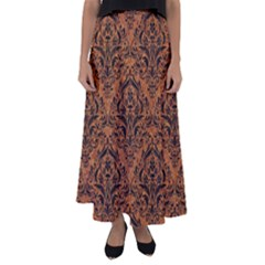 Damask1 Black Marble & Rusted Metal Flared Maxi Skirt