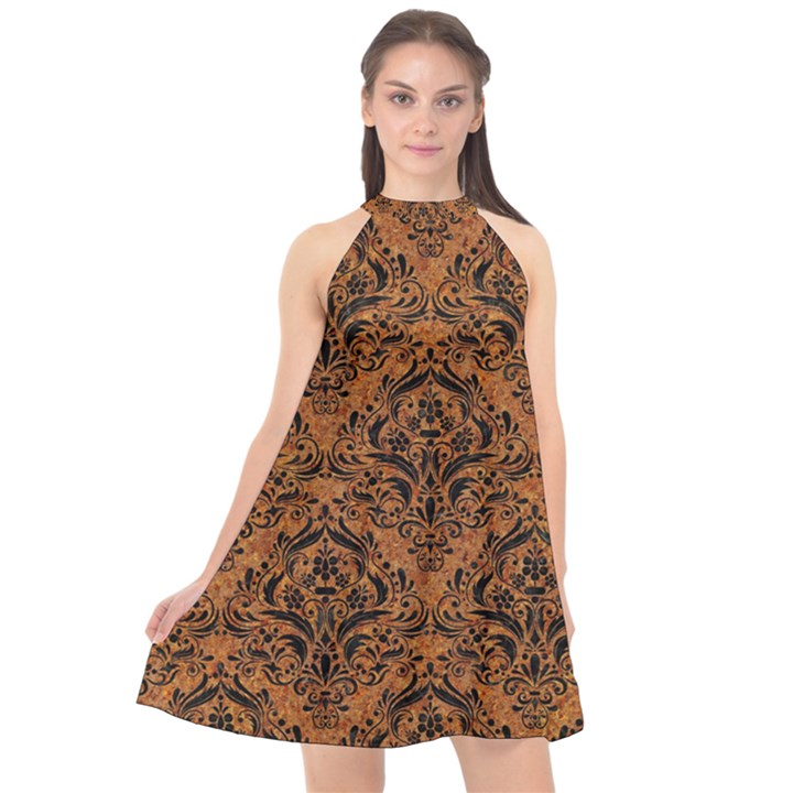 DAMASK1 BLACK MARBLE & RUSTED METAL Halter Neckline Chiffon Dress