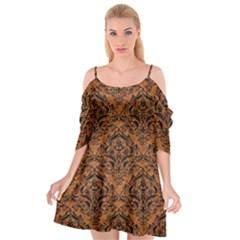 Damask1 Black Marble & Rusted Metal Cutout Spaghetti Strap Chiffon Dress