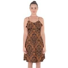 Damask1 Black Marble & Rusted Metal Ruffle Detail Chiffon Dress