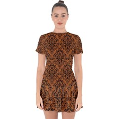 Damask1 Black Marble & Rusted Metal Drop Hem Mini Chiffon Dress