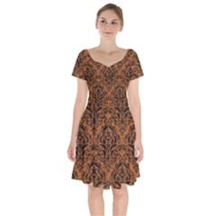 Damask1 Black Marble & Rusted Metal Short Sleeve Bardot Dress