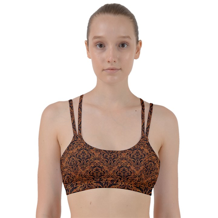 DAMASK1 BLACK MARBLE & RUSTED METAL Line Them Up Sports Bra