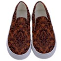 DAMASK1 BLACK MARBLE & RUSTED METAL Kids  Canvas Slip Ons View1