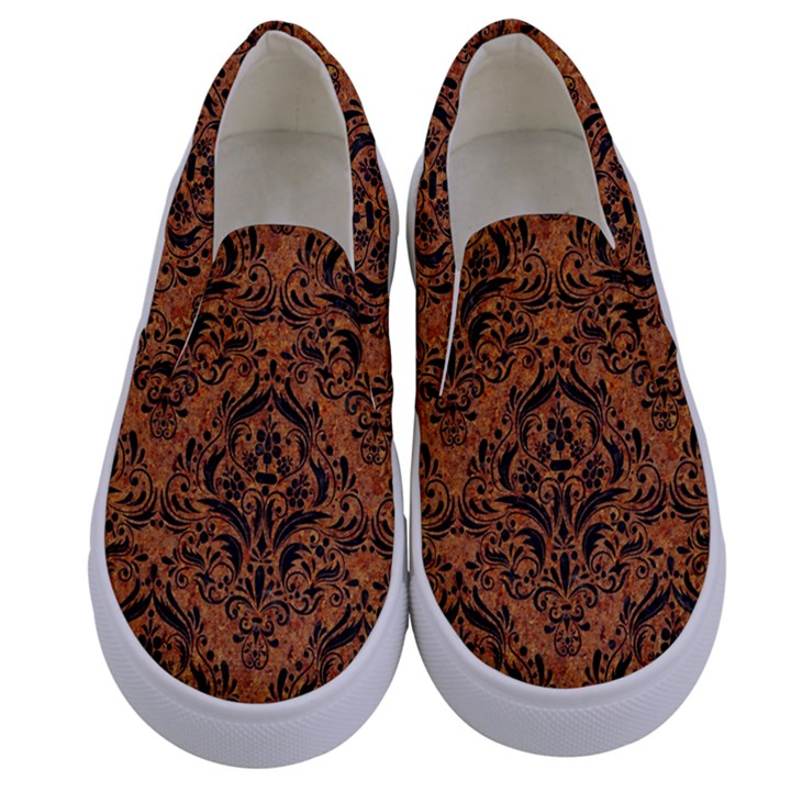 DAMASK1 BLACK MARBLE & RUSTED METAL Kids  Canvas Slip Ons
