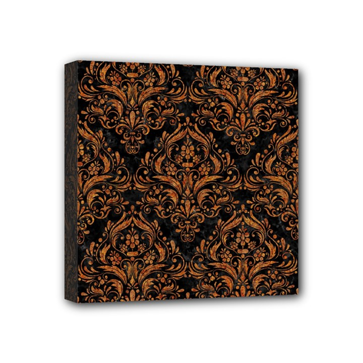 DAMASK1 BLACK MARBLE & RUSTED METAL (R) Mini Canvas 4  x 4
