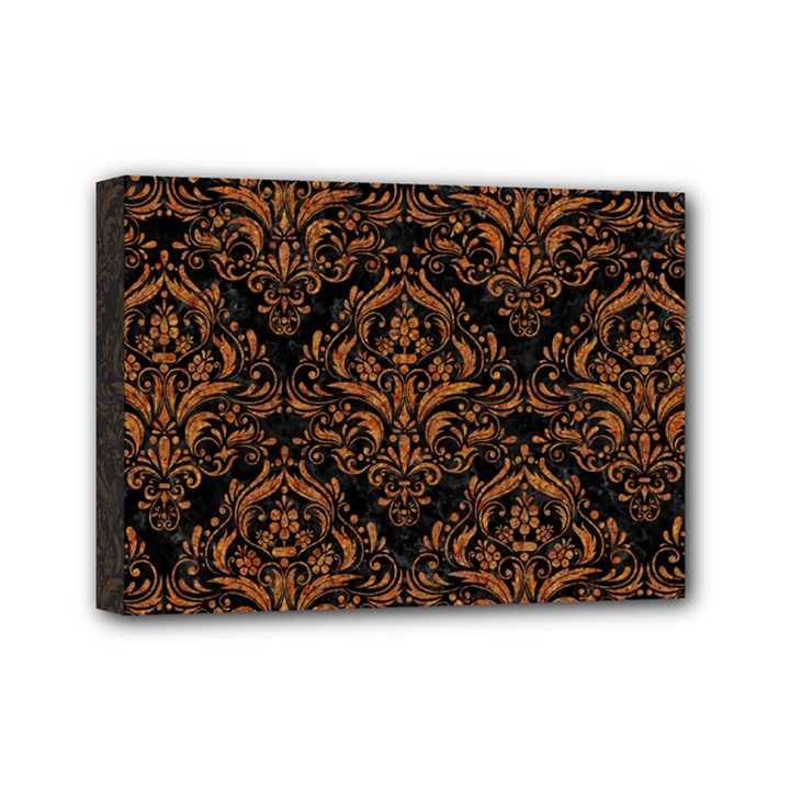 DAMASK1 BLACK MARBLE & RUSTED METAL (R) Mini Canvas 7  x 5