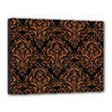 DAMASK1 BLACK MARBLE & RUSTED METAL (R) Canvas 16  x 12  View1