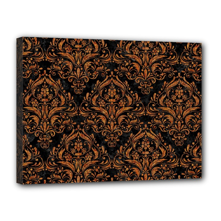 DAMASK1 BLACK MARBLE & RUSTED METAL (R) Canvas 16  x 12