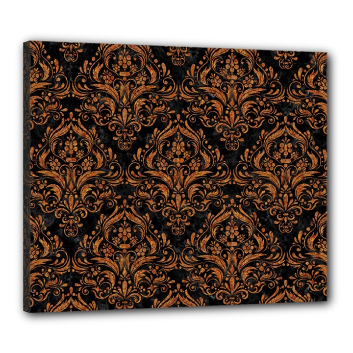 DAMASK1 BLACK MARBLE & RUSTED METAL (R) Canvas 24  x 20