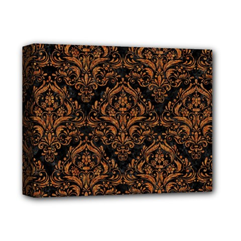 Damask1 Black Marble & Rusted Metal (r) Deluxe Canvas 14  X 11
