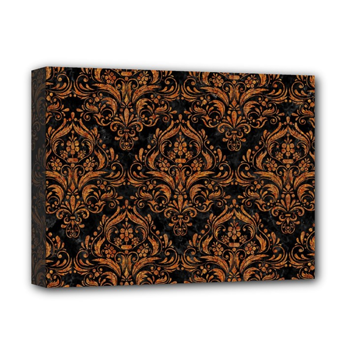 DAMASK1 BLACK MARBLE & RUSTED METAL (R) Deluxe Canvas 16  x 12