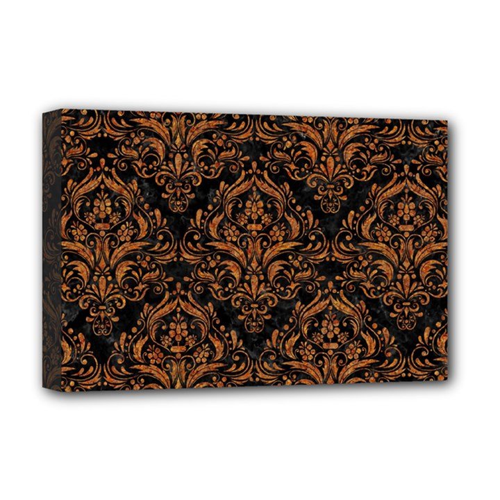 DAMASK1 BLACK MARBLE & RUSTED METAL (R) Deluxe Canvas 18  x 12