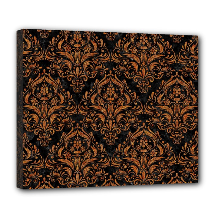 DAMASK1 BLACK MARBLE & RUSTED METAL (R) Deluxe Canvas 24  x 20