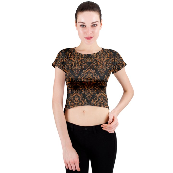 DAMASK1 BLACK MARBLE & RUSTED METAL (R) Crew Neck Crop Top