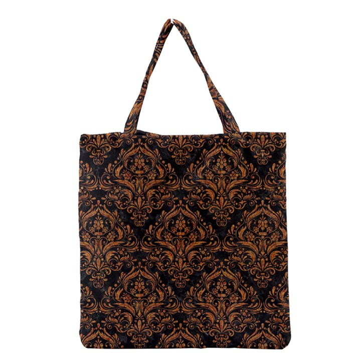 DAMASK1 BLACK MARBLE & RUSTED METAL (R) Grocery Tote Bag