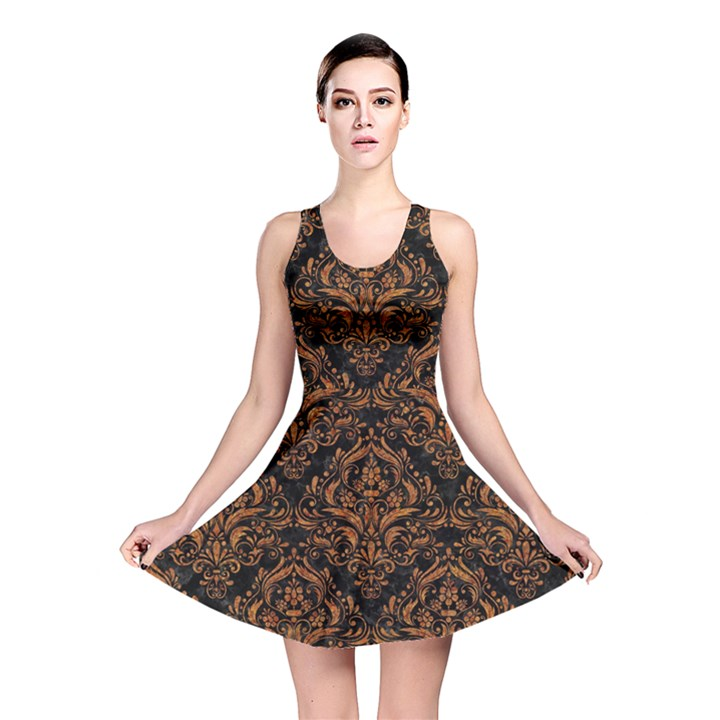 DAMASK1 BLACK MARBLE & RUSTED METAL (R) Reversible Skater Dress