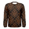 DAMASK1 BLACK MARBLE & RUSTED METAL (R) Men s Long Sleeve Tee View1