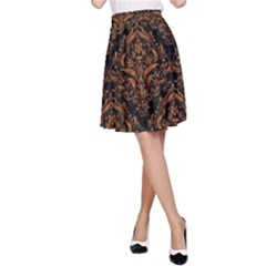 Damask1 Black Marble & Rusted Metal (r) A Line Skirt