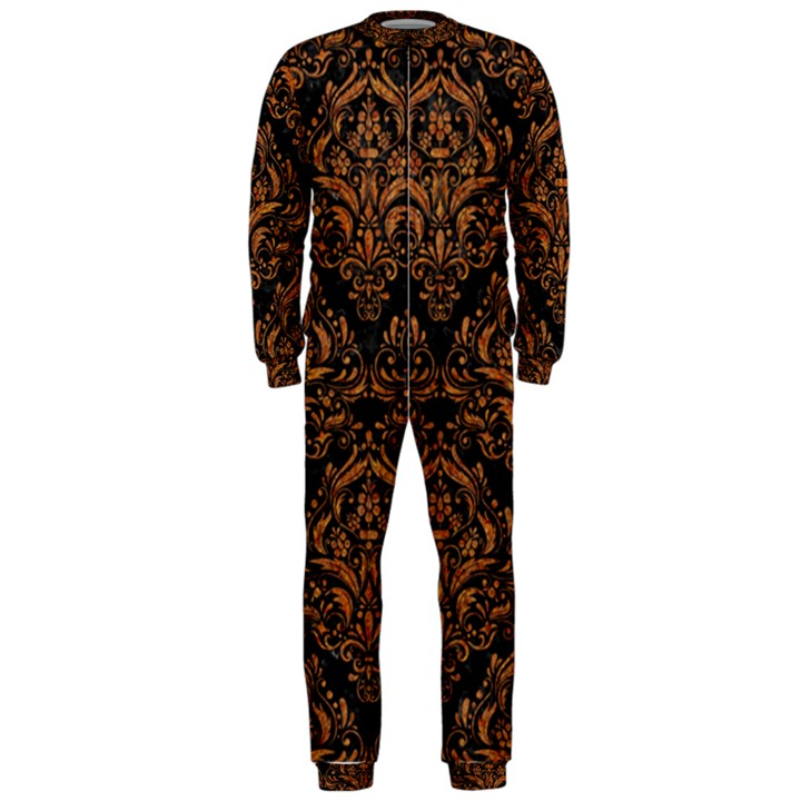 DAMASK1 BLACK MARBLE & RUSTED METAL (R) OnePiece Jumpsuit (Men)