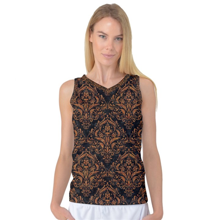DAMASK1 BLACK MARBLE & RUSTED METAL (R) Women s Basketball Tank Top