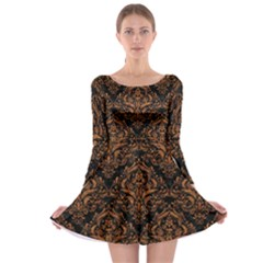 Damask1 Black Marble & Rusted Metal (r) Long Sleeve Skater Dress