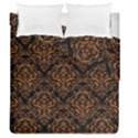 DAMASK1 BLACK MARBLE & RUSTED METAL (R) Duvet Cover Double Side (Queen Size) View1