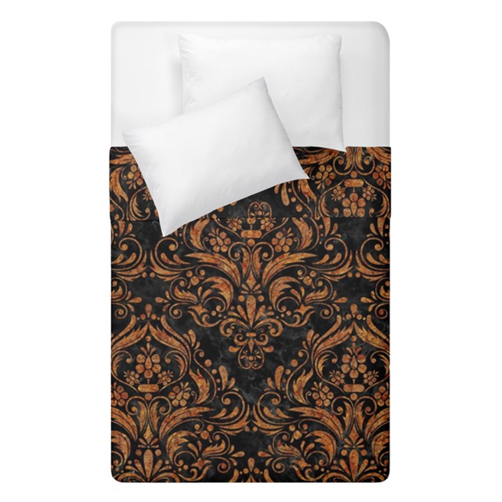 DAMASK1 BLACK MARBLE & RUSTED METAL (R) Duvet Cover Double Side (Single Size)