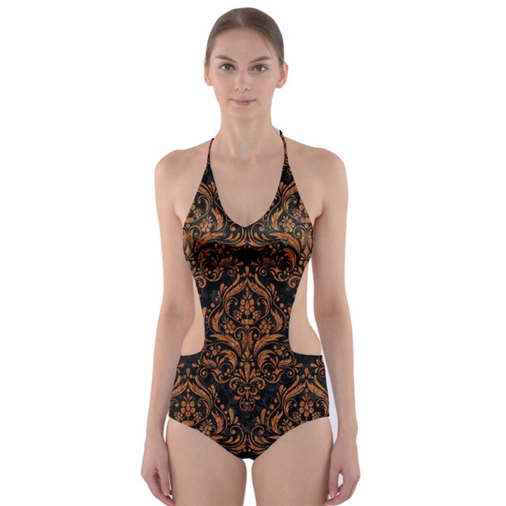 DAMASK1 BLACK MARBLE & RUSTED METAL (R) Cut-Out One Piece Swimsuit
