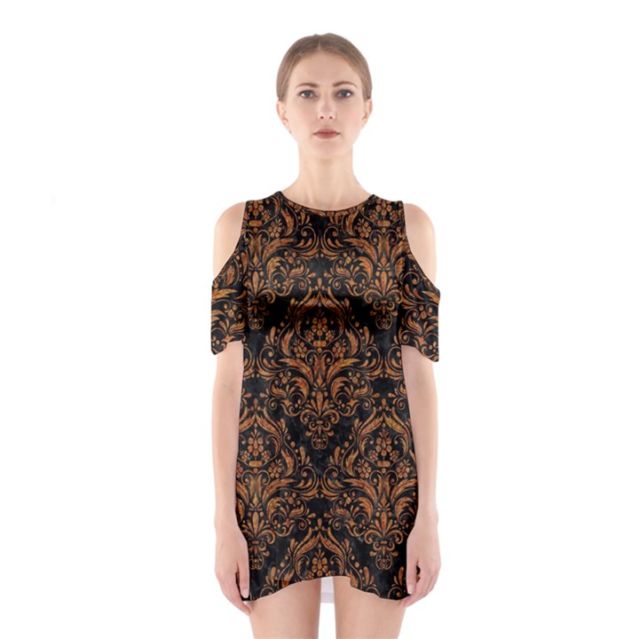 DAMASK1 BLACK MARBLE & RUSTED METAL (R) Shoulder Cutout One Piece