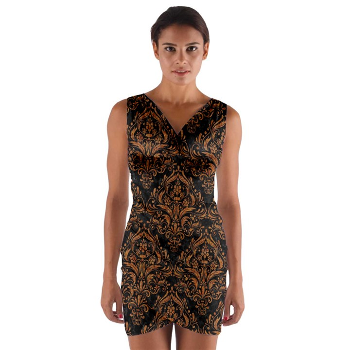 DAMASK1 BLACK MARBLE & RUSTED METAL (R) Wrap Front Bodycon Dress