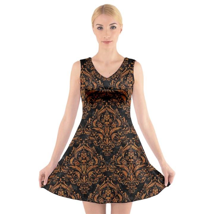 DAMASK1 BLACK MARBLE & RUSTED METAL (R) V-Neck Sleeveless Skater Dress