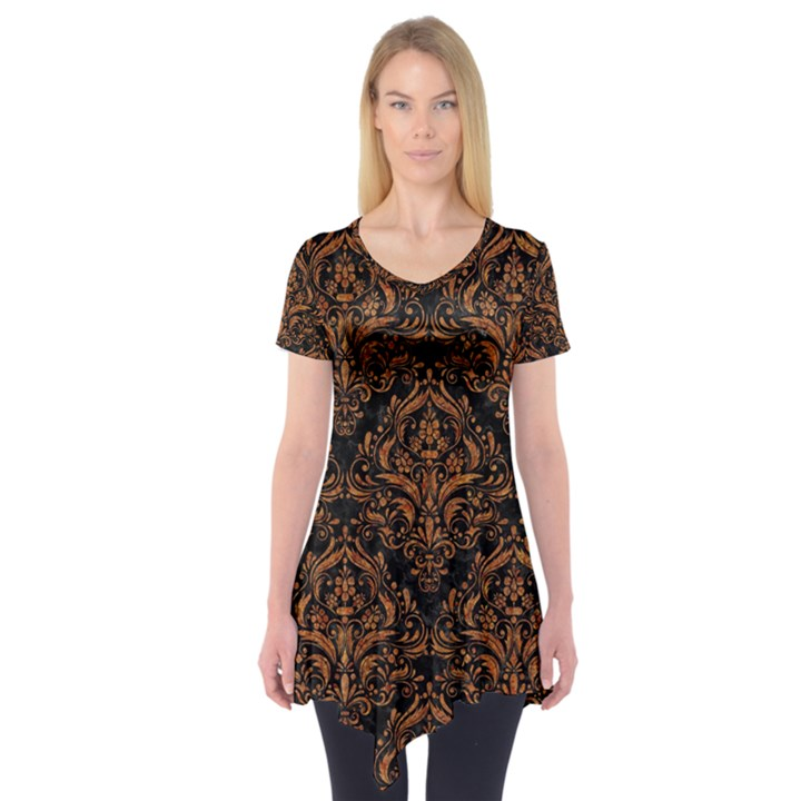 DAMASK1 BLACK MARBLE & RUSTED METAL (R) Short Sleeve Tunic