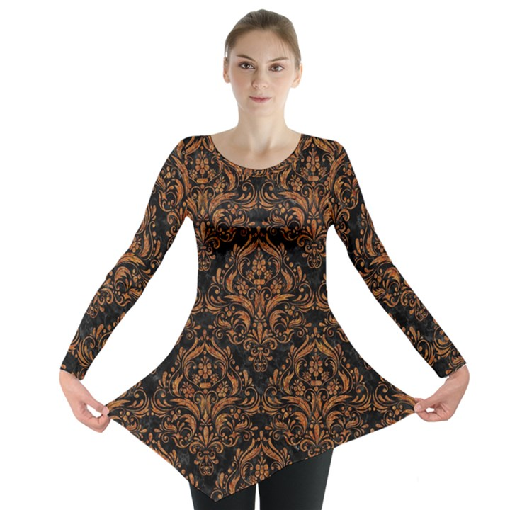 DAMASK1 BLACK MARBLE & RUSTED METAL (R) Long Sleeve Tunic