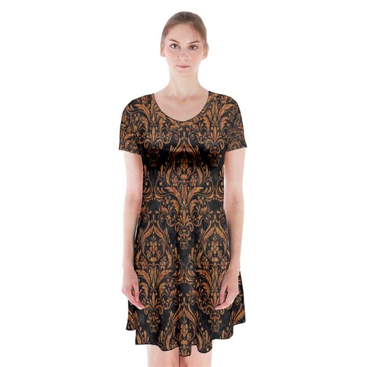 DAMASK1 BLACK MARBLE & RUSTED METAL (R) Short Sleeve V-neck Flare Dress