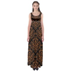 Damask1 Black Marble & Rusted Metal (r) Empire Waist Maxi Dress