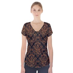 Damask1 Black Marble & Rusted Metal (r) Short Sleeve Front Detail Top